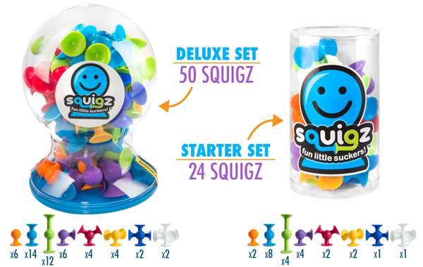 Starter set: 24 Squigz; Deluxe set: 50 Squigz