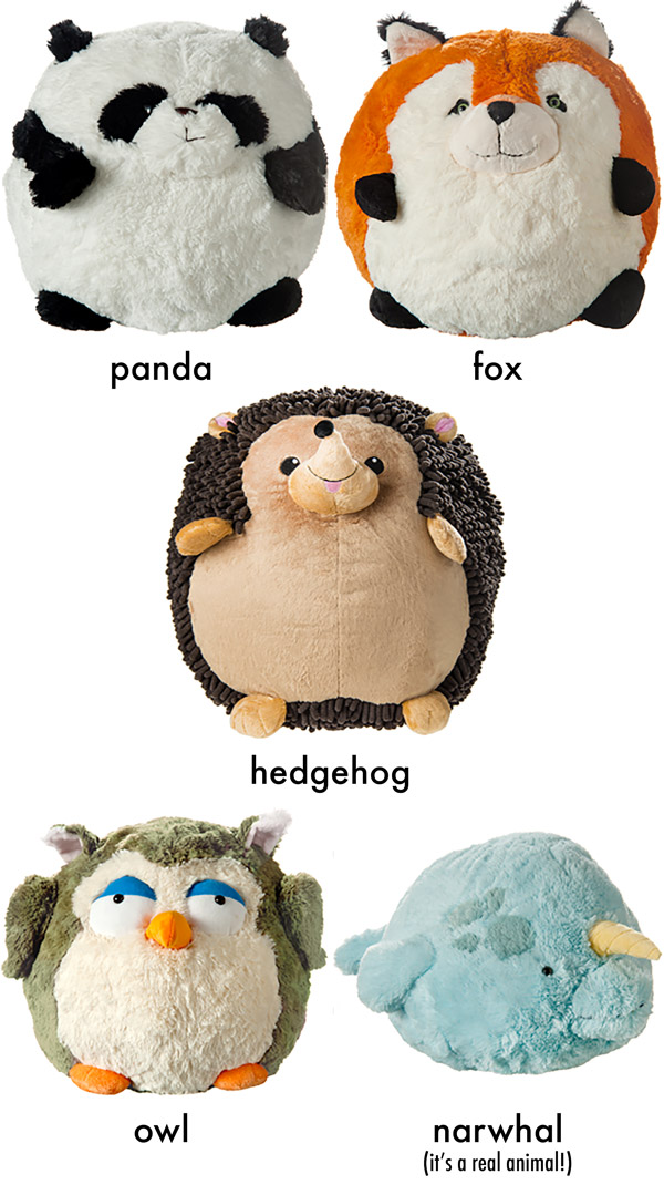Squishables stuffed animals are available in a variety of animal styles.