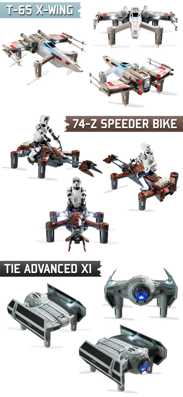 composite image of Advanced TIE, X-Wing, and Speeder Bike quads displaying their detail