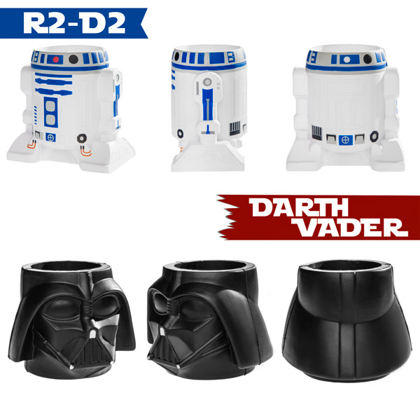 R2-D2 and Darth Vader Koozies in front, side, and back views