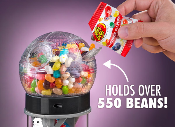 The Jelly Belly Bean Machine can hold 23 ounces of Jelly Belly jelly beans.