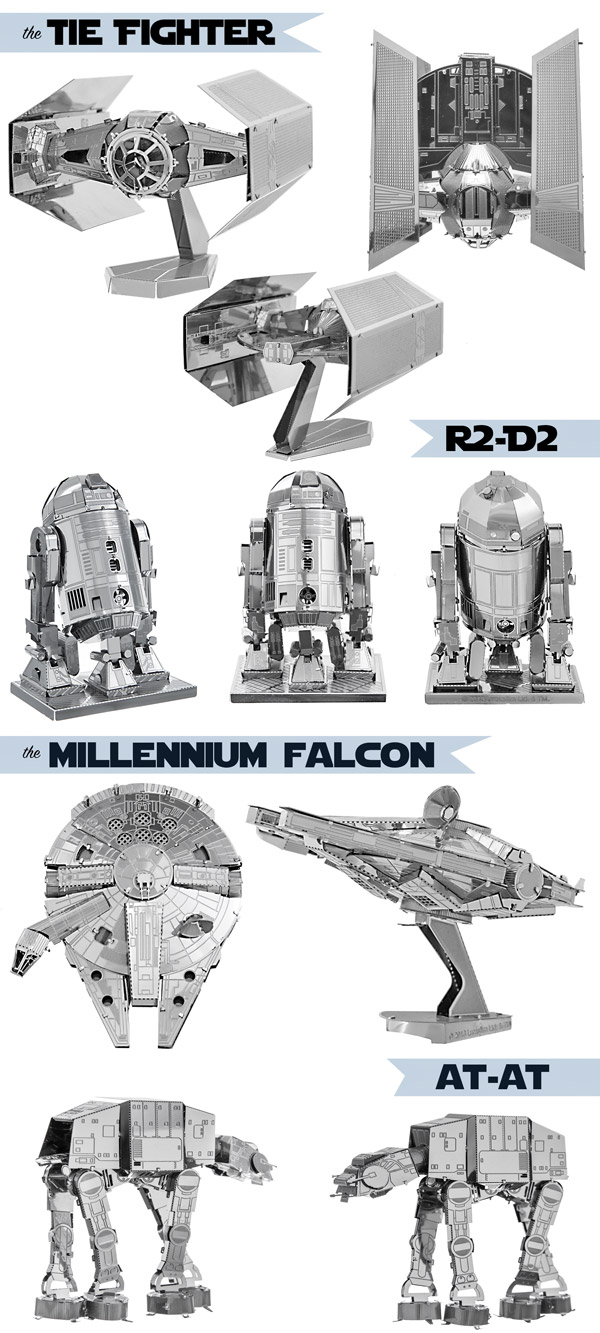 Multiple views of all Star Wars Metal Earth 3D Models.