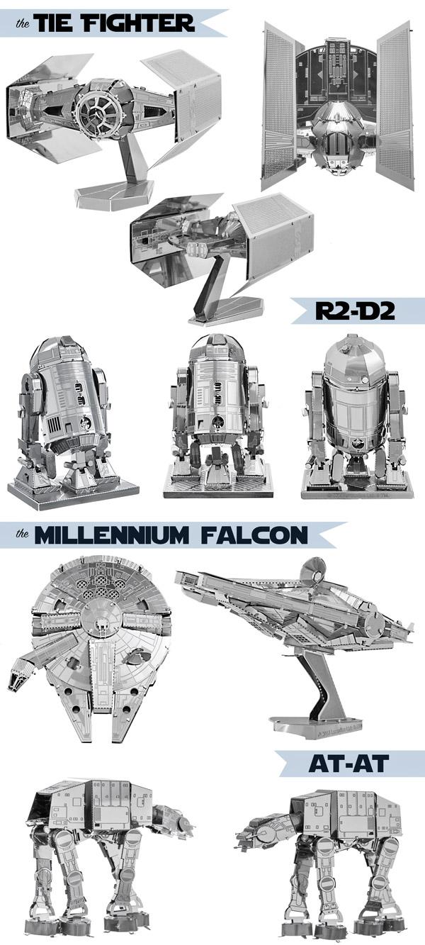 Multiple views of all Star Wars Metal Earth 3D Models.