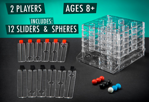 For 2 players, Ages 8+, Includes 12 sliders, 9 spheres
