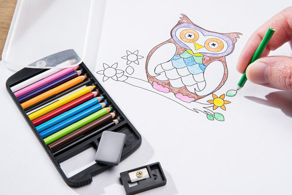 A hand uses the pencils to color in line art of an owl.