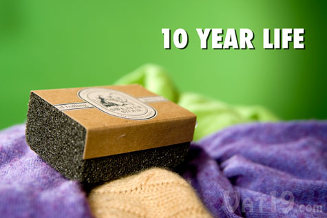 The Sweater Stone is effective on a variety of garments and has an expected life of 10 years.