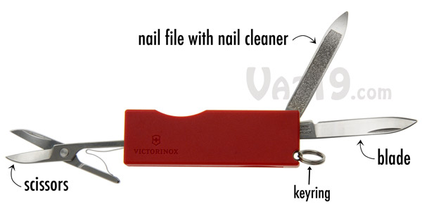 Swiss Army Knife Keychain includes 3 tools.