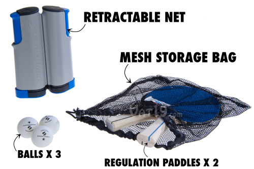 Table Tennis To Go portable Ping Pong set includes two paddles, three balls, and a mesh storage bag.