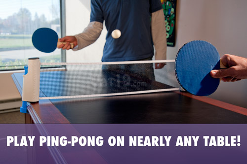 Portable Table Tennis To Go turns any table into a ping pong court.