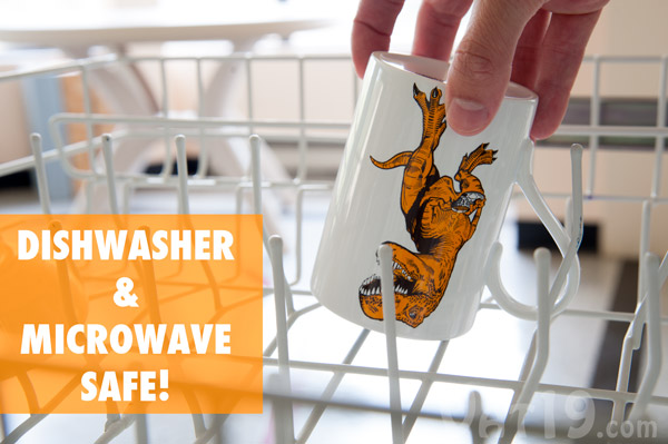 The Tea-Rex Mug is microwave and dishwasher safe.