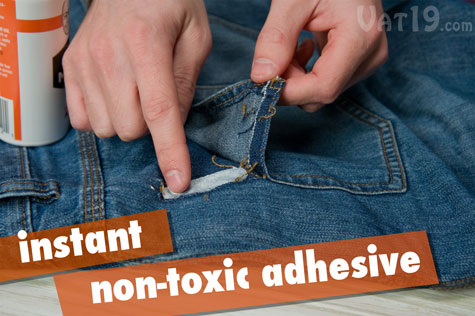 Tear Mender is an instant, permanent, non-toxic fabric adhesive.