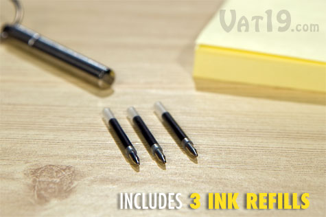 TelePen Telescoping Pen comes with three black ink refills.