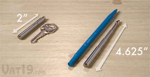 The TelePen telescoping pen expands from the size of a house key to nearly the size of a standard pen.