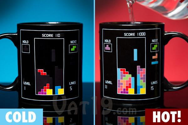 Tetris Heat Change Mug: Board changes when hot liquids added.