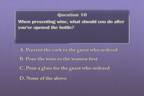 Video quizzes will reinforce waiter and waitress training knowledge.