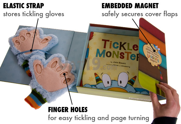 Tickle Monster Laughter Kit includes storage box and tickling gloves.