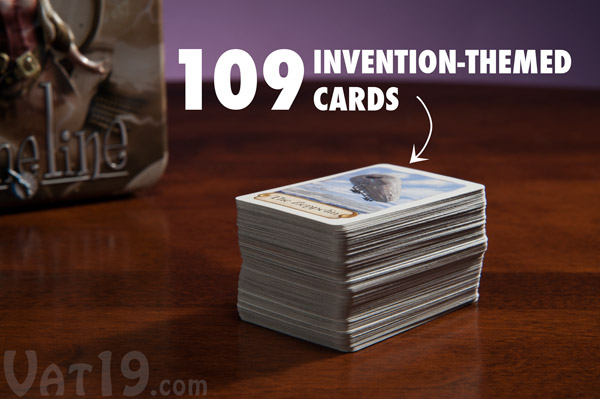 The Timeline Game includes 109 themed cards.