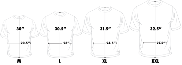 Titleless Golf T-Shirt Sizing Guide