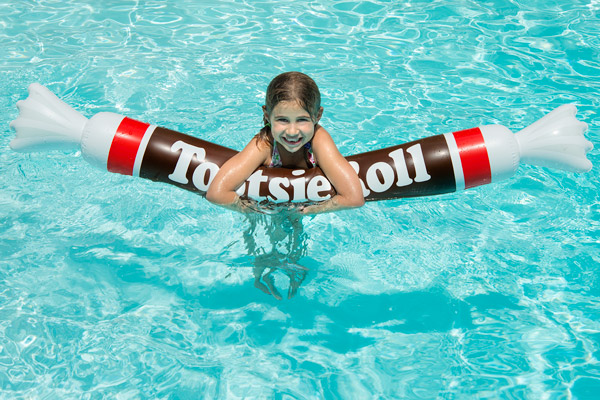 The five foot inflatable Tootsie Roll float is fun for all ages.