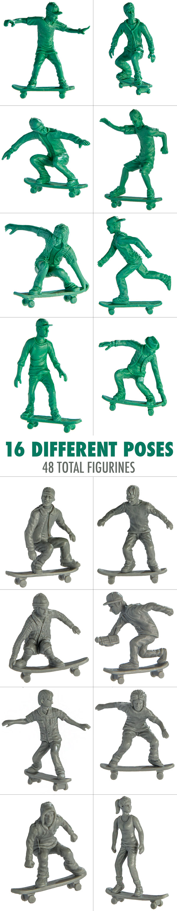 Skateboarder Toyboarders have 16 unique poses.