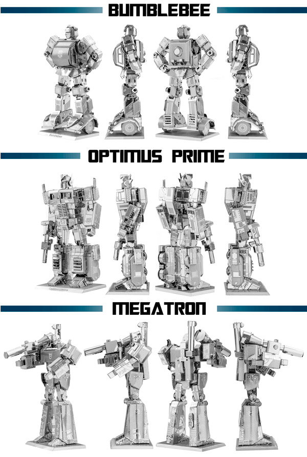 Various views of the three Transformer Metal Works figures
