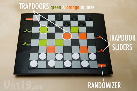 The Trapdoors Checkers board features eight trap doors.