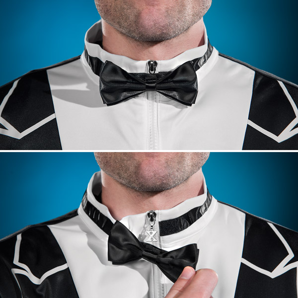 The Traxedo features a velcro bowtie.