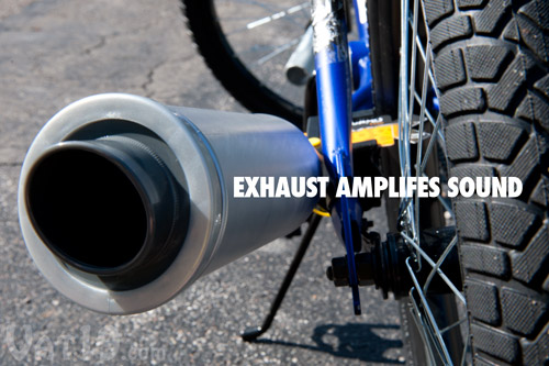 The Turbospoke Exhaust helps to amplify the sound from the Motocard.