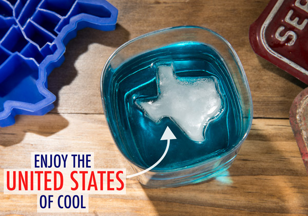 """U Ice of A"" Ice Cube Tray makes ice in the shape of states."