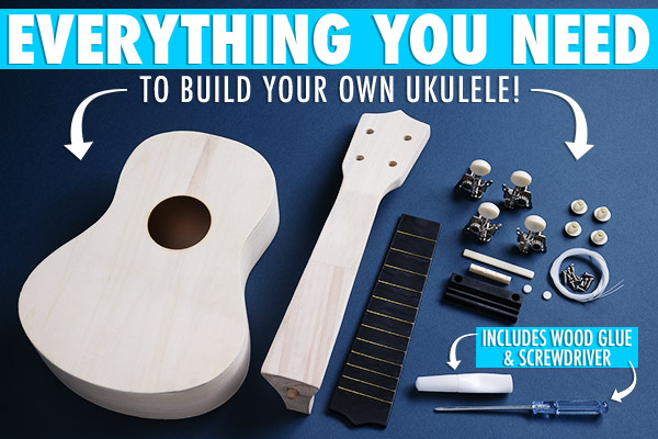 Everything you need to build your own ukulele is included in the kit.
