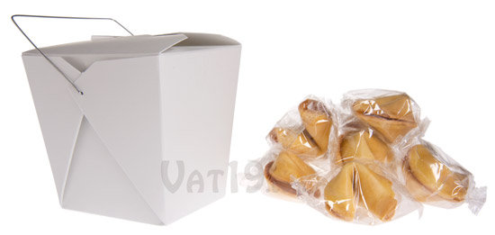 Unfortunate Cookies are 10 funny fortune cookies packaged in a plain white Chinese Takeout box.