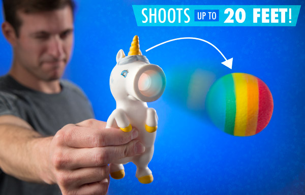 Unicorn Ball Popper shoots over 20 feet.