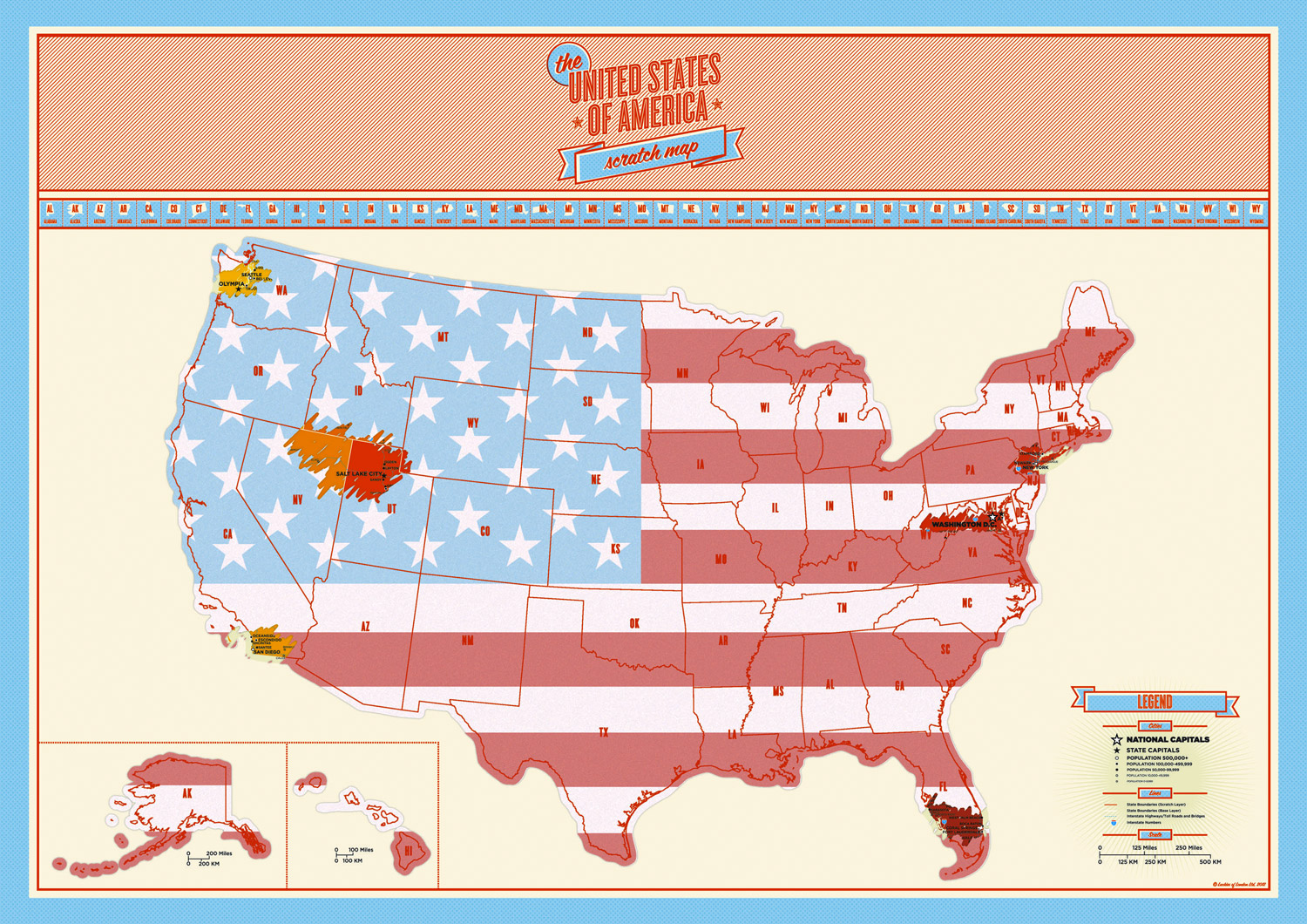 USA Scratch Map Track Your Travels With The Large Scratchoff Map - Us state map large