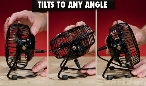 The USB Retro Metal Desk Fan can tilt 360 degrees.