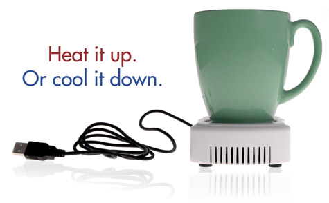 The USB Warmer and Cooler will heat up a drink or keep it cool.