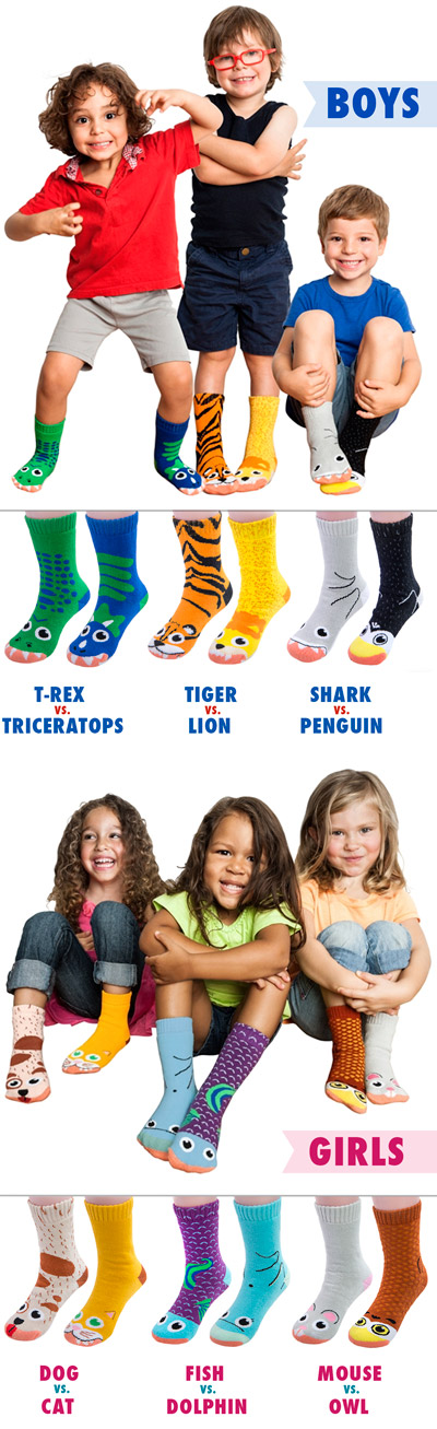 3 pairs of predator and prey socks for boys and girls