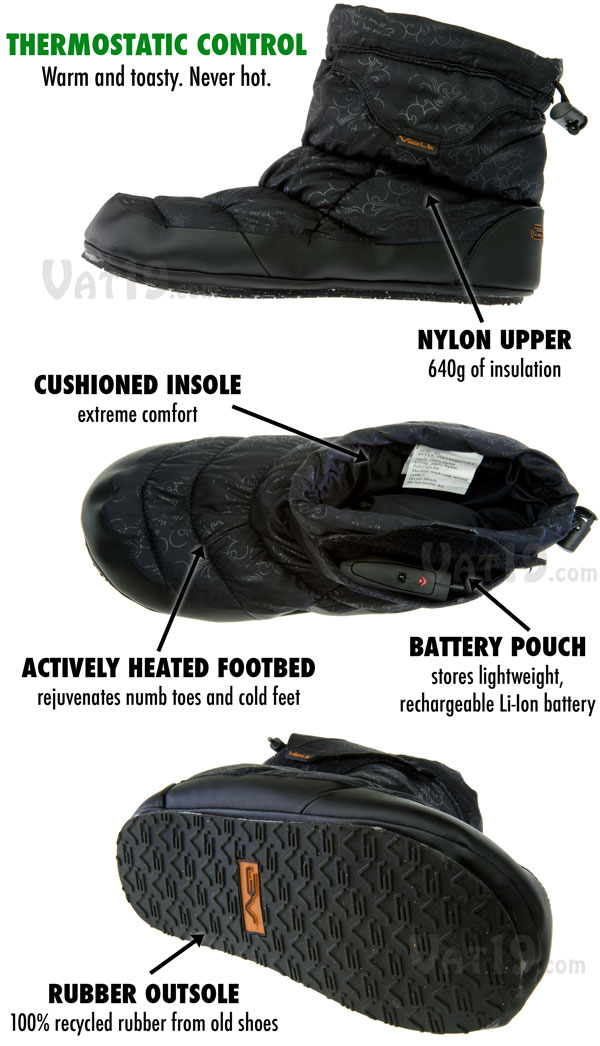 Volt Heated Indoor Outdoor Slippers are thermostatically controlled.