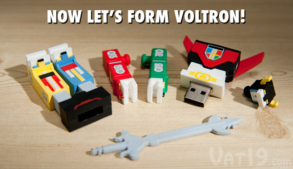 The head, arms, and lower body of the USB Voltron Flash Drive are all detachable.