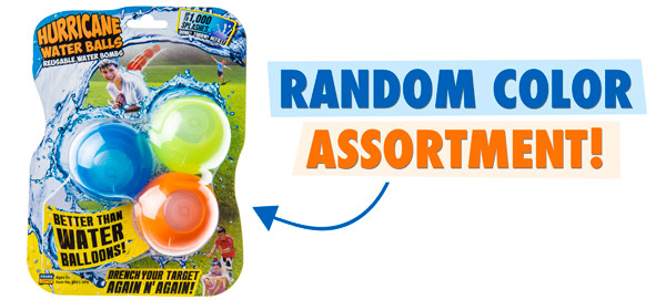 Reusable Water Bombs feature random colors.