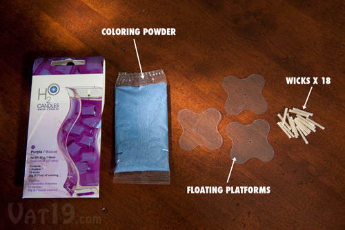 Each H20 Candle Packet includes 18 wicks, three floaters, and 20g of coloring.