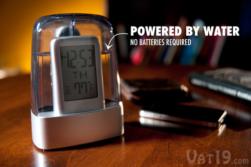 The Digital Water-Powered Alarm Clock runs solely on tap water.