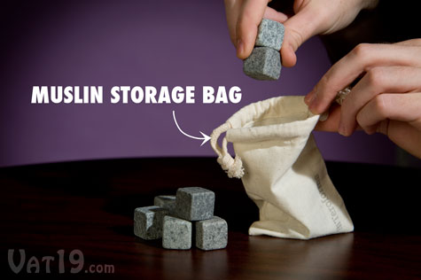 A muslin storage bag is included with your purchase of Whiskey Stones.