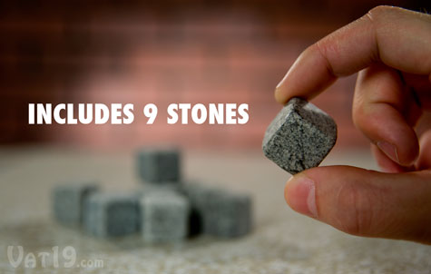 Each order includes nine soapstone Whiskey Stones.