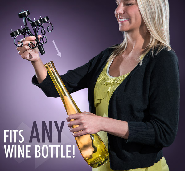 The Wine Bottle Candelabra fits any size wine bottle.