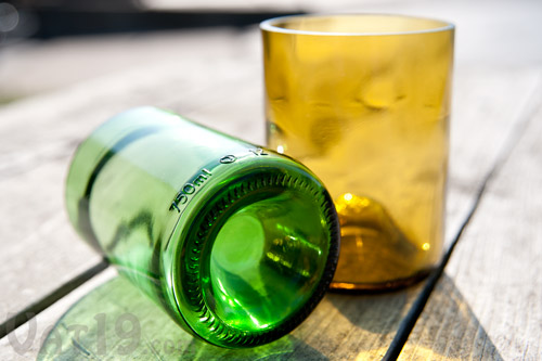Tumblers made from wine bottles that were made from recycled glass.