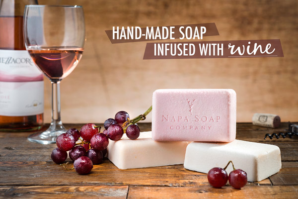 Hand-made soap infused with wine