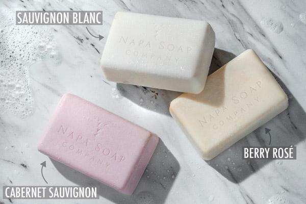 Sauvignon blanc, rosé, and cabernet sauvignon soaps