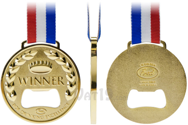 Front, side, and back views of the Gold Medal Bottle Opener.