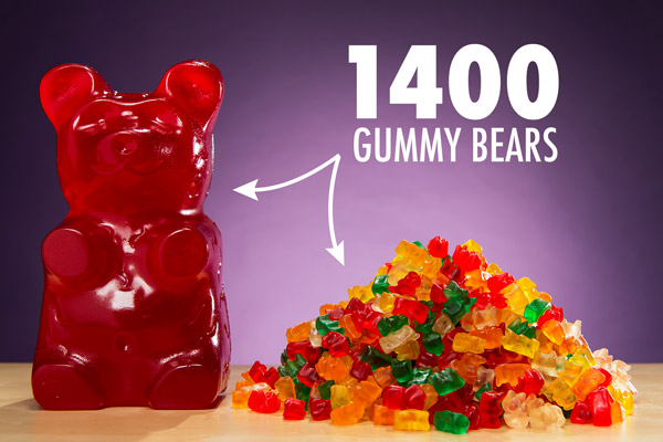The World's Largest Gummy Bear is the equivalent of 1400 regular gummy bears.