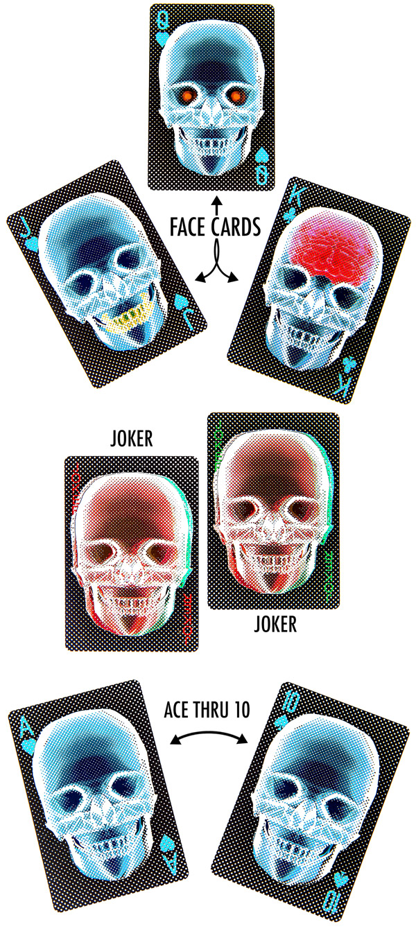Images of the face cards, non face cards, and jokes from the X-Ray Deck of Cards.